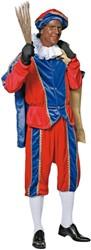 Kostuum Zwarte Piet Blauw/Rood Luxe (met cape)