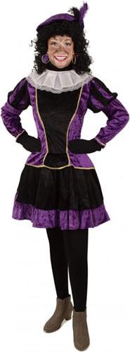 Pieten Jurkje Dames Paars-Zwart met Petticoat