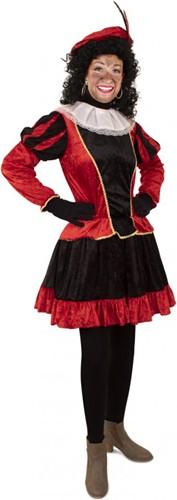 Dames Pieten Jurkje Zwart- Rood met Petticoat