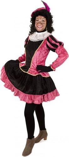 Dames Pieten Jurkje Zwart- Roze met Petticoat