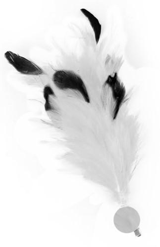 Witte Buigbare Verenpluim met Speld en Clip (30 cm)