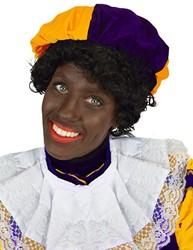 Zwarte Piet Baret Paars/Oranje (fluweel)