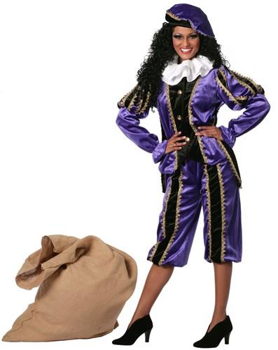 Zwarte Piet Dameskostuum Paars Luxe (met cape)