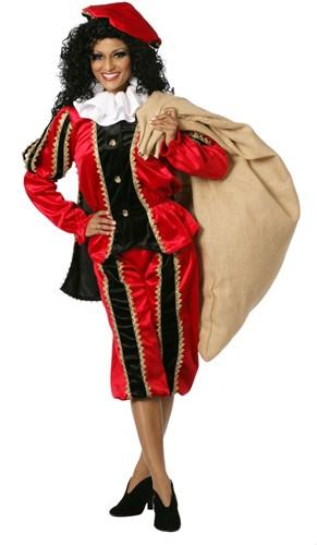 Zwarte Piet Dameskostuum Rood Luxe (met cape)