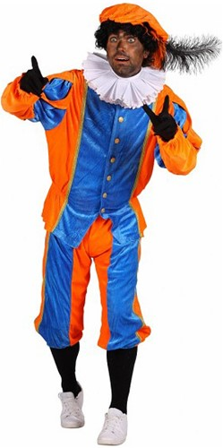 Pietenpak Carlos Polyester Fluweel Blauw/Oranje
