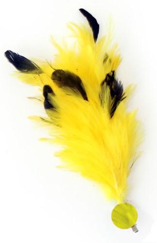 Gele Buigbare Verenpluim met Speld en Clip (30 cm)