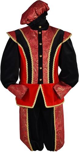 Luxe Pietenpak Pedro Fluweel Rood-Zwart