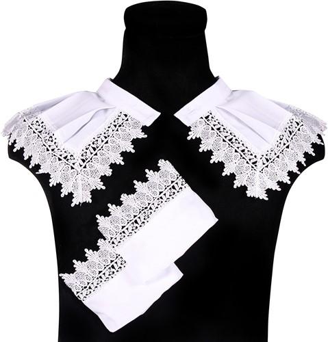 Luxe Zwarte Pieten Set Wit (Kraag en Manchetten)