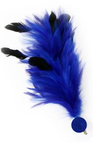 Blauwe Buigbare Verenpluim met Speld en Clip (30 cm)