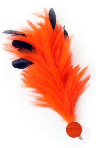 Oranje Buigbare Verenpluim met Speld en Clip (30 cm)