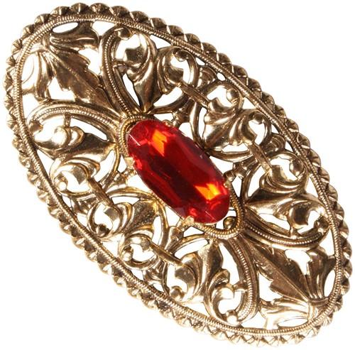 Baretspeld Gouden Ovaal met Rode Steen