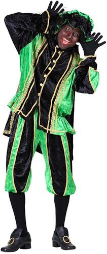 Zwarte Pietenpak Bilbao Zwart/Groen