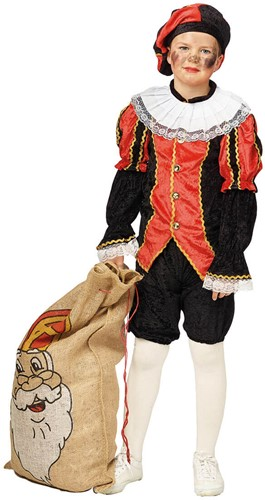 Luxe Zwarte Piet Kind Zwart/Rood
