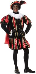 Luxe Fluwelen Pietenpak Zwart/Rood met Cape