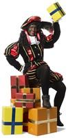 Luxe Fluwelen Pietenpak Zwart/Rood met Cape-2