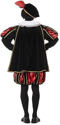 Luxe Fluwelen Pietenpak Zwart/Rood met Cape-3
