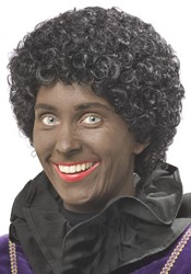 Pruik Zwarte Piet Luxe XL