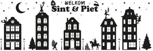 Sinterklaas Huisjes Raamstickers (75x25cm)