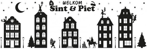 Sinterklaas Huisjes Raamstickers (150x50cm)