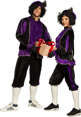 Zwarte Pietenkostuum voor Volwassenen Zwart met Paars