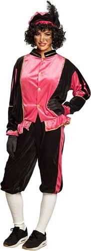 Zwarte Pietenkostuum voor Volwassenen Zwart met Roze