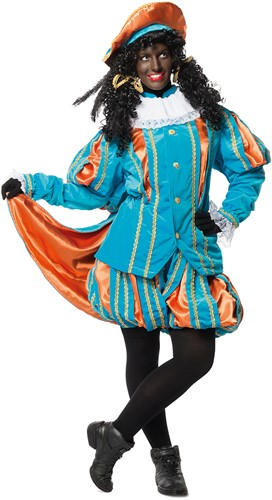 Luxe Fluwelen Pietenpak Turquoise/Oranje met Cape