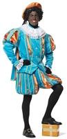 Luxe Fluwelen Pietenpak Turquoise/Oranje met Cape-2