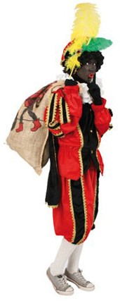 Zwarte Piet Kostuum Zwart/Rood met Cape