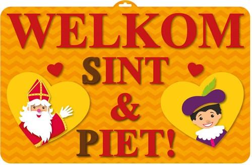 Deurbord 3D Welkom Sint & Piet (58x37cm)