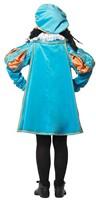 Luxe Fluwelen Pietenpak Turquoise/Oranje met Cape-3