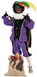 Zwarte Piet Kostuum Zwart/Paars met Cape