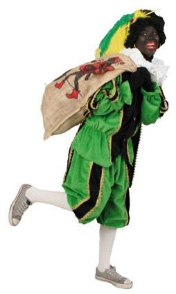 Zwarte Piet Kostuum Zwart/Groen met Cape