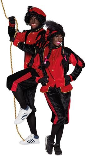 Zwarte Pietenkostuum voor Volwassenen Zwart met Rood