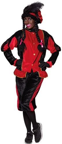 Zwarte Pietenkostuum voor Volwassenen Zwart met Rood-2