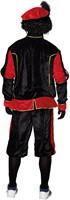 Zwart Pietenpak Zwart-Rood voor Volwassenen (achterkant)