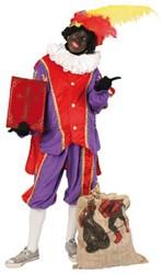 Zwarte Piet Kostuum Paars/Rood met Cape