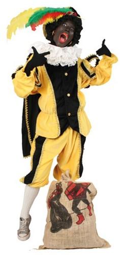 Zwarte Piet Kostuum Zwart/Geel met Cape