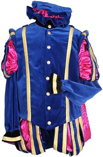 Pietenkostuum Fluweel  Madrid met Cape Blauw-Roze