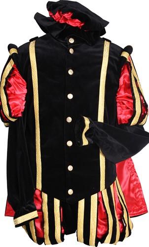 Pietenkostuum Fluweel Madrid met Cape Zwart-Rood