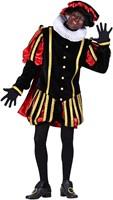 Pietenkostuum Fluweel Madrid met Cape Zwart-Rood-2