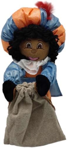 Decoratie Pop Zwarte Glitter Piet met Zak (35cm)