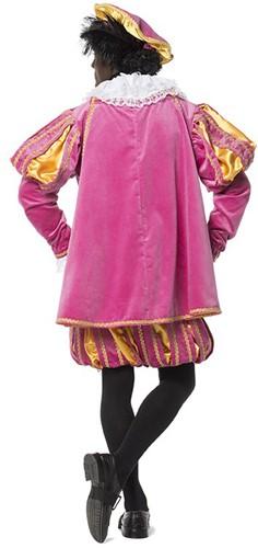 Luxe Fluwelen Pietenpak Pink/Geel met Cape-3