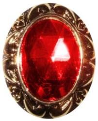 Sinterklaas Ring Gouden Rand met Rode Steen