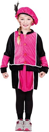 Zwart met Roze Meisjes Kinderkostuum Zwarte Piet