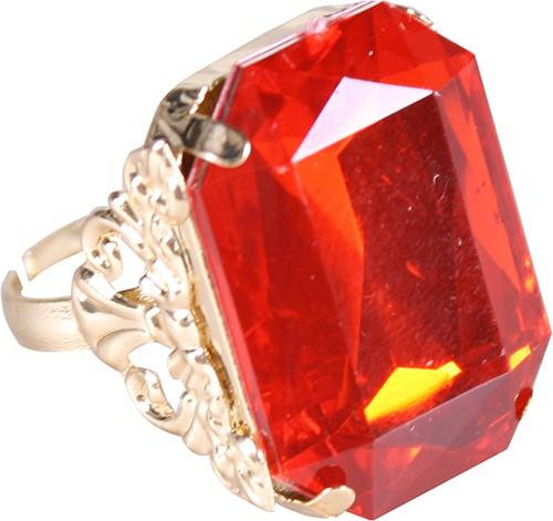 Ring Sinterklaas Goud/Rood (rechthoekige diamant)