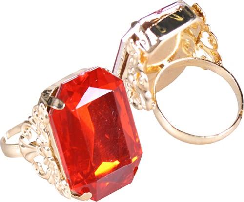 Ring Sinterklaas Goud/Rood (rechthoekige diamant)-2