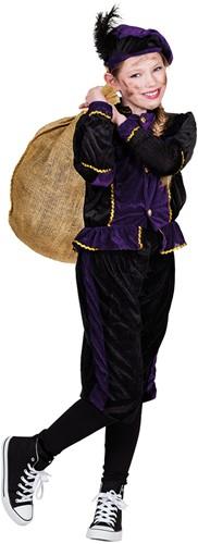 Zwarte met Paarse Kinderkostuum Zwarte Piet