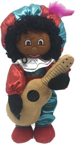 Etalage Decoratie Pop Zwarte Piet Luxe met Gitaar (35 centimeter)