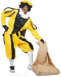 Kostuum Zwarte Piet Geel Luxe (met cape)
