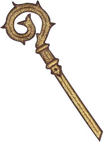 Sinterklaas Applicatie Staf Goud (12cm)
